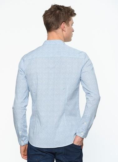 Uzun Kollu Baskılı Gömlek-Mavi